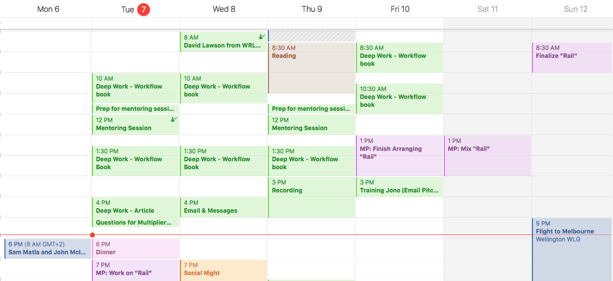I schedule out production time using the color purple, and typically set an objective for each session.