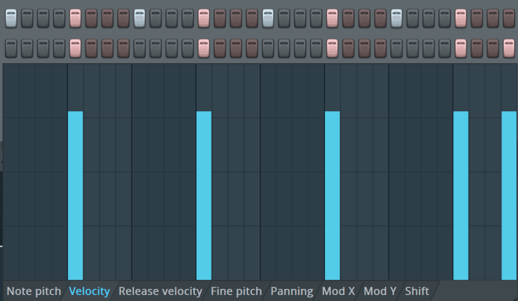 FL Studio Step Sequencer Velocity Editor