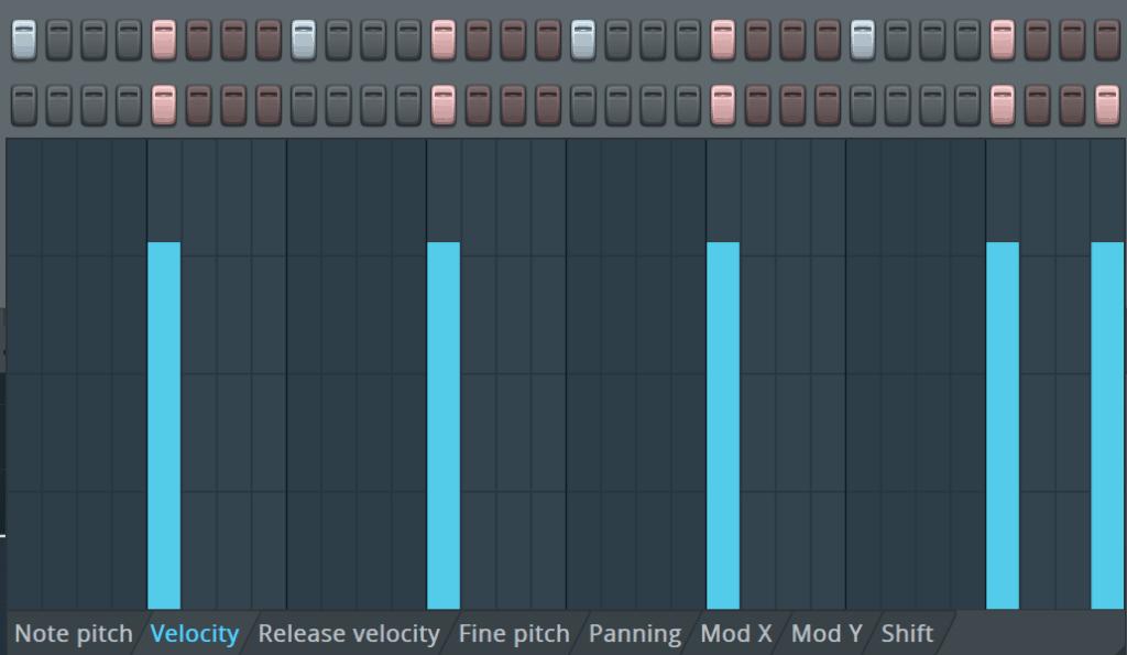 FL Studio Step Sequencer Velocity Editor