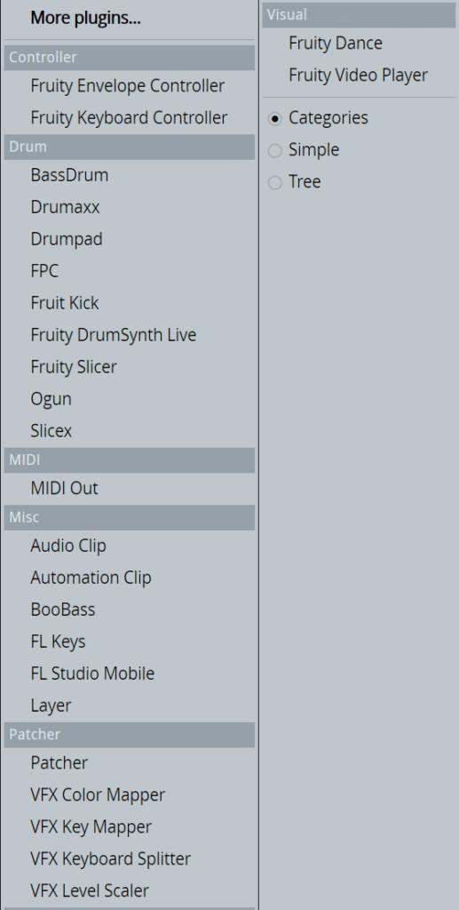 FL Studio Plugin Menu