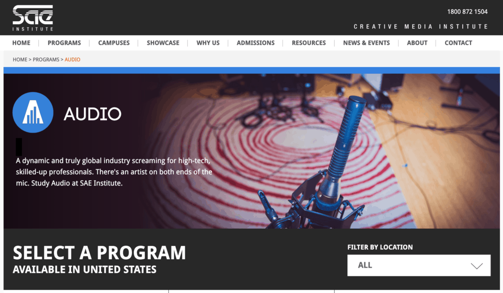 SAE Music Production School Website
