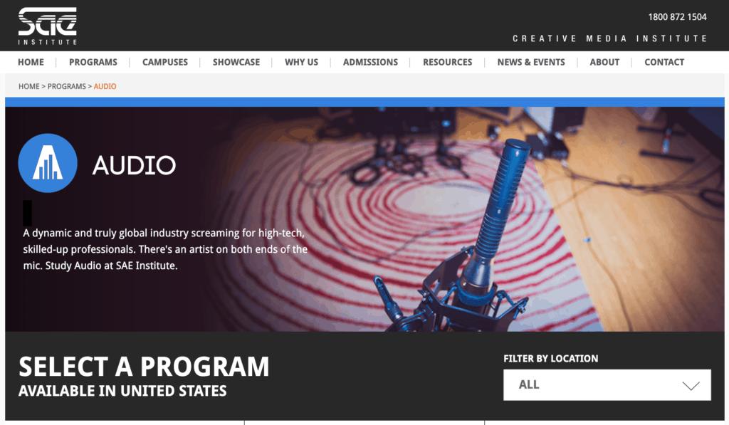 SAE Music Production School Website