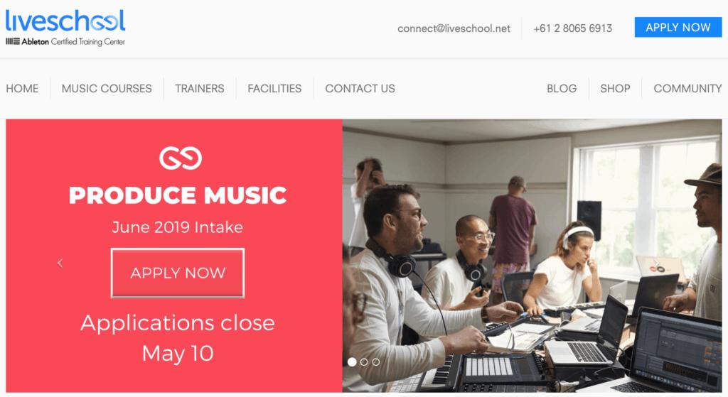 Liveschool Music Production School Website