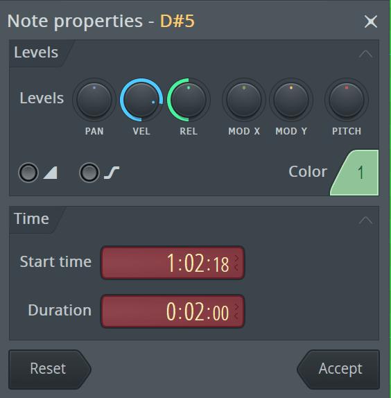 FL Studio Note Properties