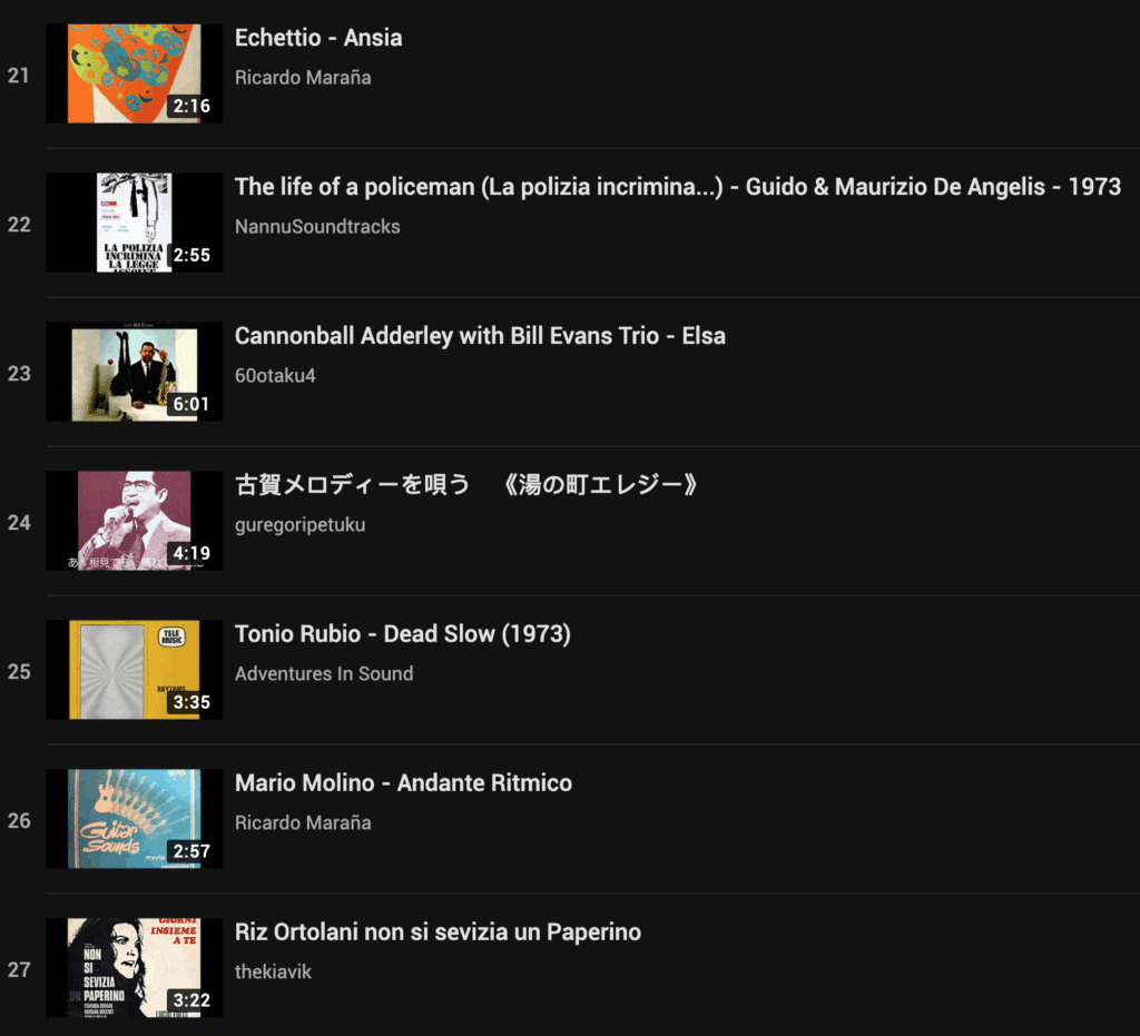 Example of a YouTube Playlist full of samples
