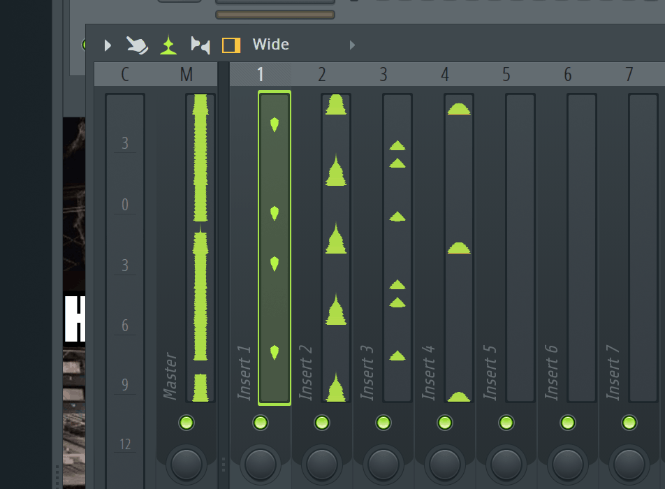 FL Studio Mixer Waveform