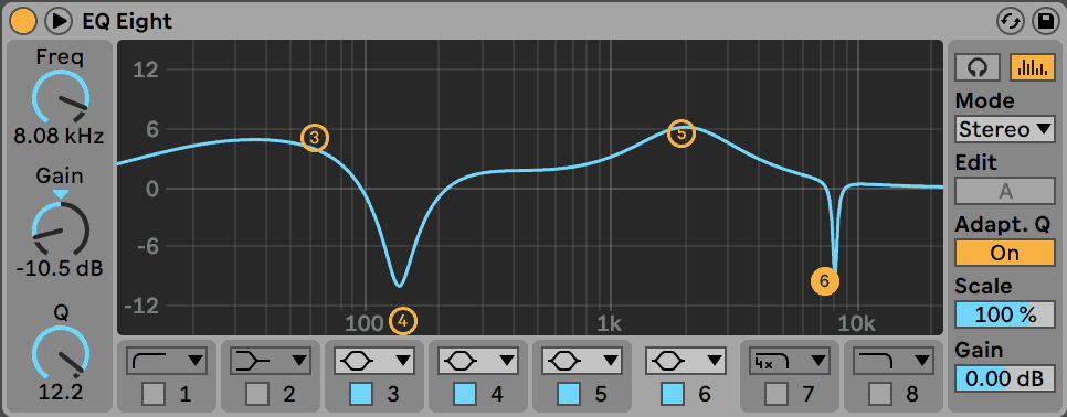 Ableton Live EQ Eight Bell Curves