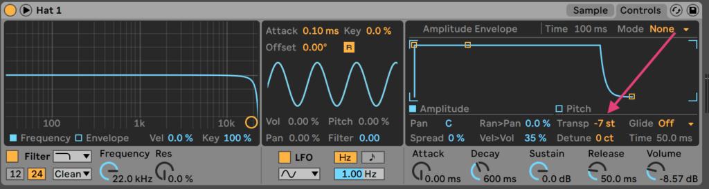 Ableton Live Simpler Transpose -7 semitones