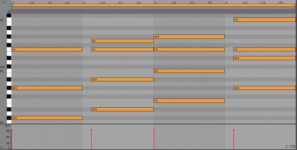 2nd Chord Progression Layer MIDI Notes