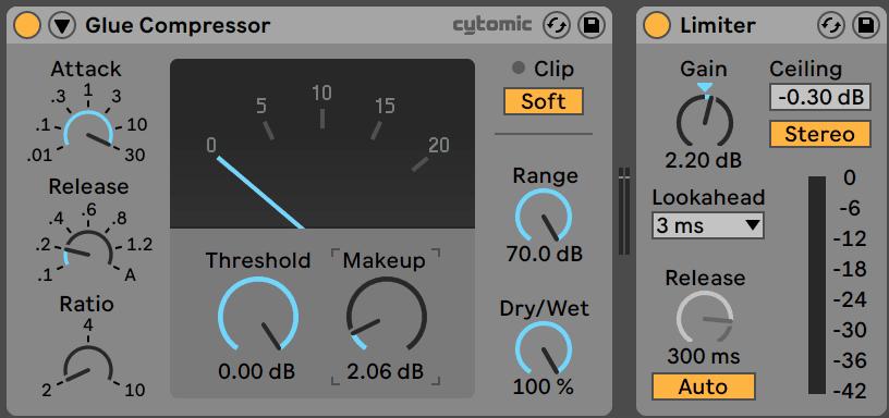 Glue Compressor and Limiter in Ableton Live