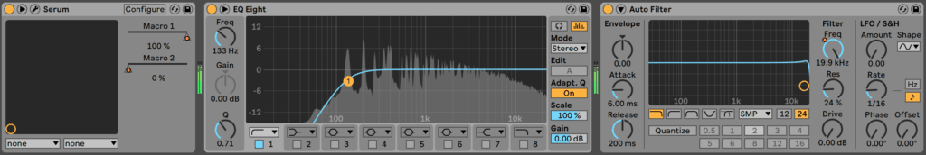 High Pass Filter EQ Eight in Ableton Live
