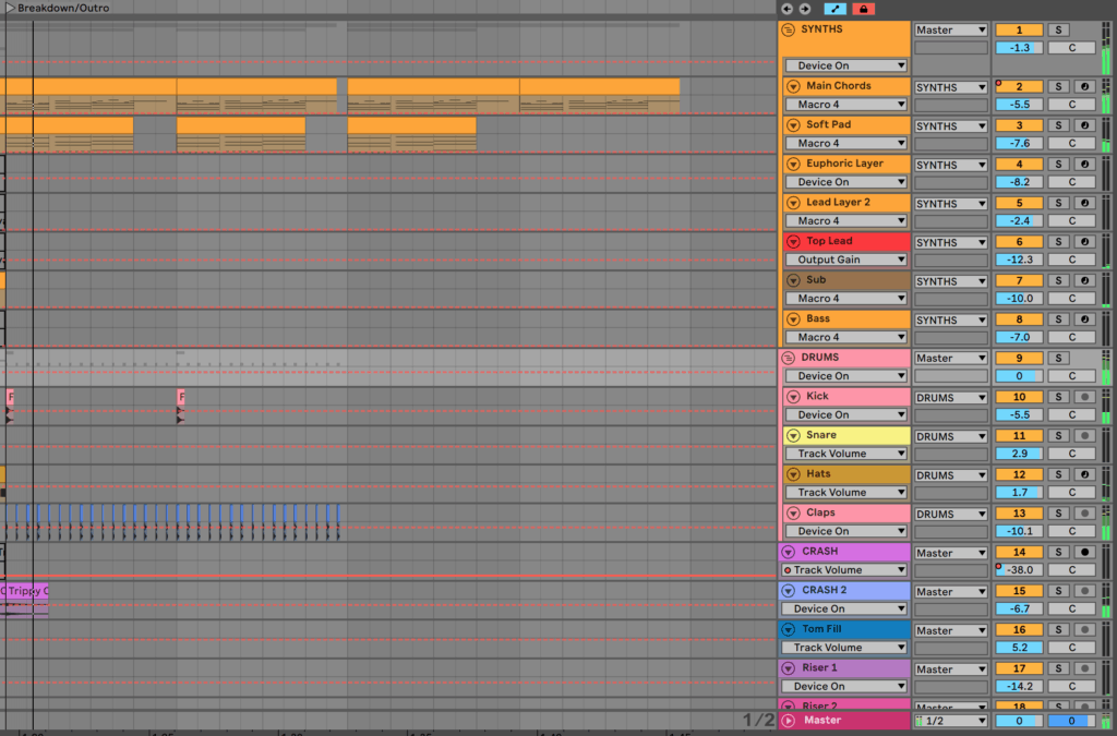 Outro Arrangement in Ableton Live