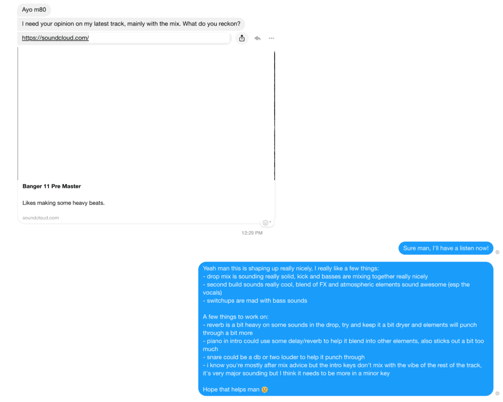 Giving Feedback on Friend's Music on Facebook