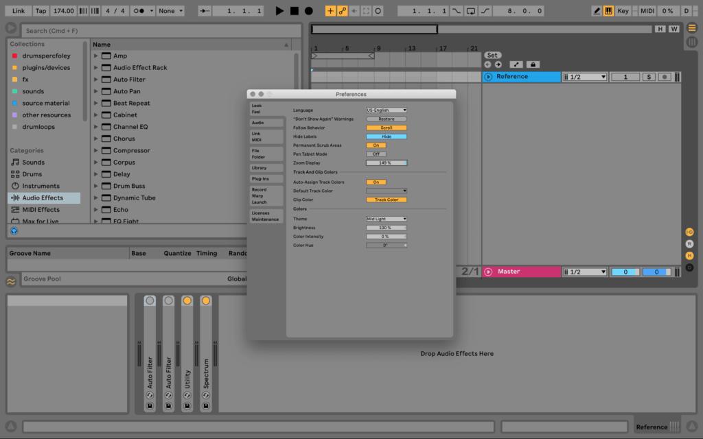 Ableton Live Preferences Zoom