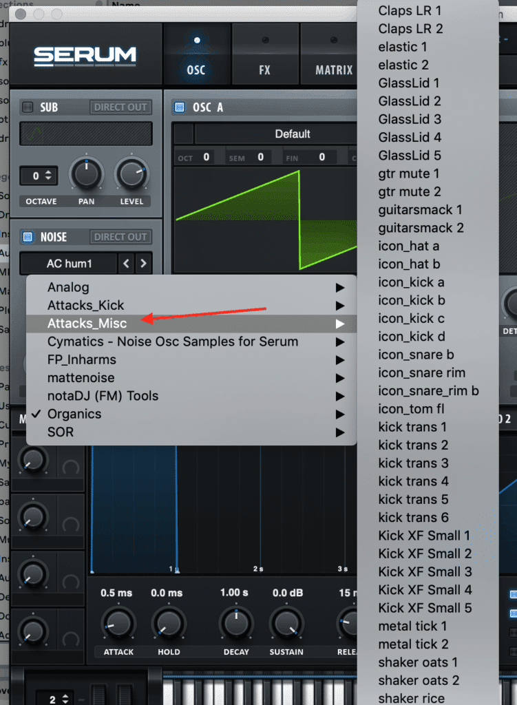 Xfer Serum Noise Osc Attacks