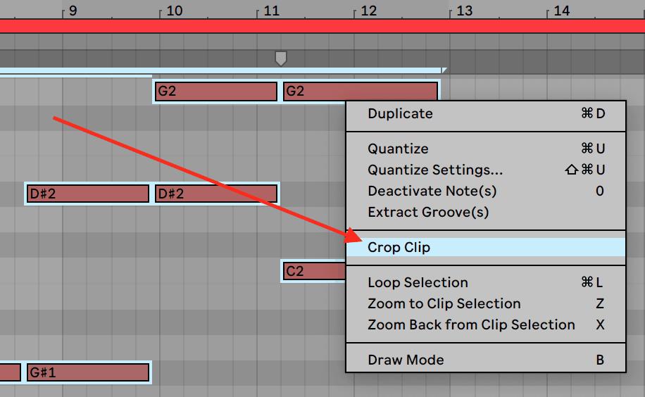Ableton Live 10 Crop Clip Menu