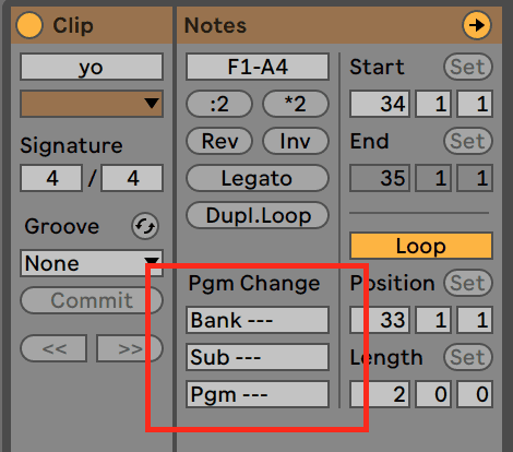 Ableton Live 10 MIDI Editor Program Change