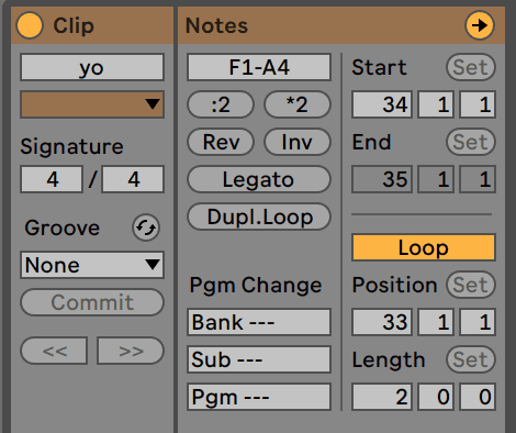 Ableton Live 10 Clip Settings