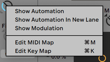 Ableton Live 10 Show Modulation Menu