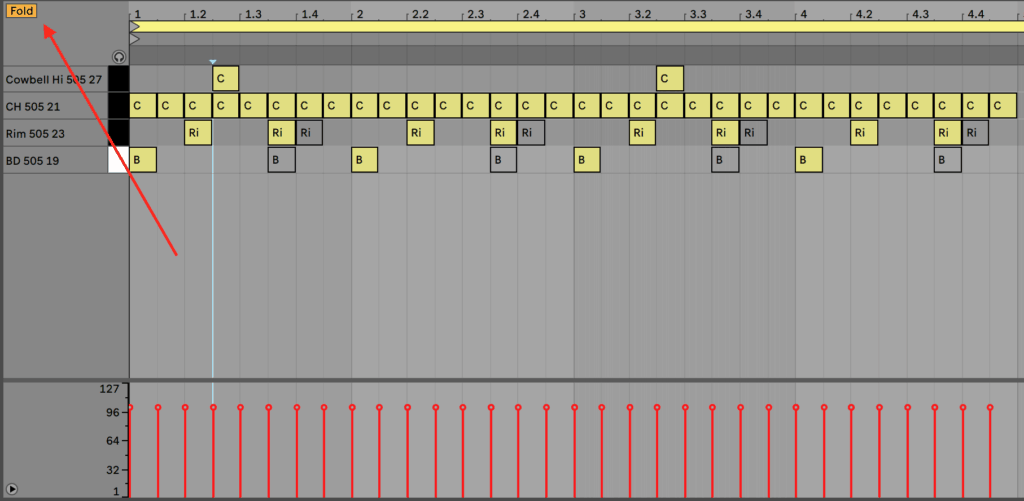 Ableton Live 10 Piano Roll Fold