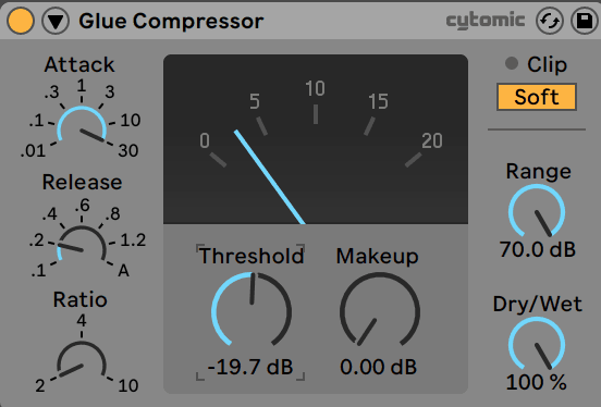 Ableton Live Glue Compressor with 2dB Gain Reduction