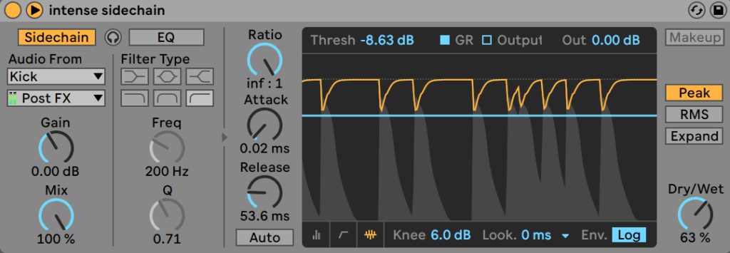 Ableton Live Compressor Sidechain Compression Activity View