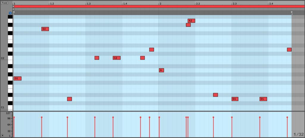 Short Note Bassline MIDI in Ableton Live