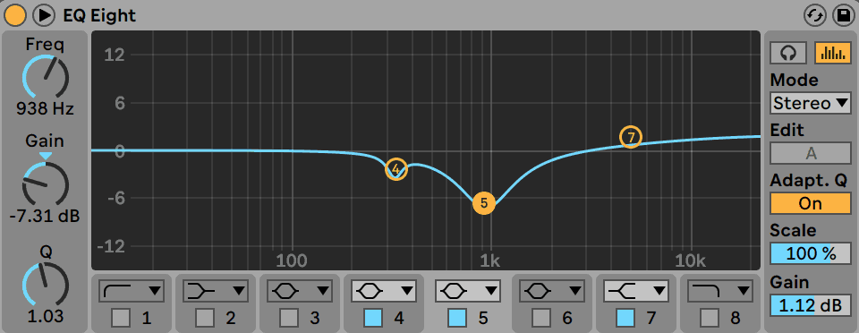 Reductive Ableton Live EQ Eight Cuts in Drum and Bass