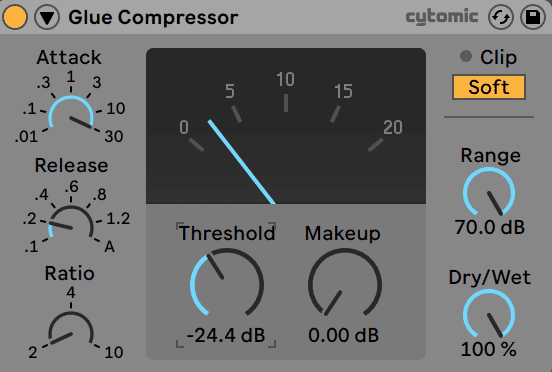 Ableton Live Glue Compressor on Master
