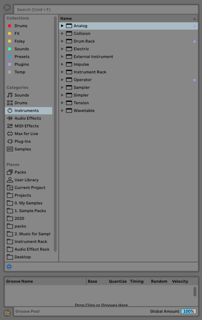 Ableton Live Browser