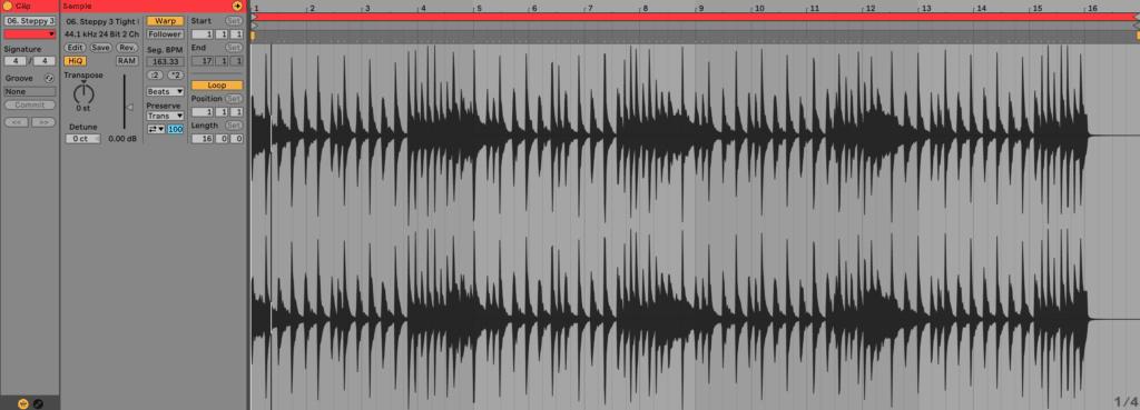 Ableton Live Audio Clip Editor