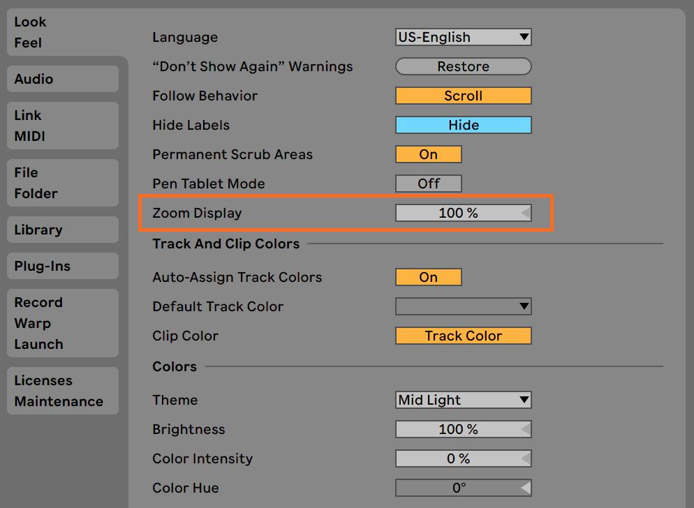 Ableton Live Zoom Display