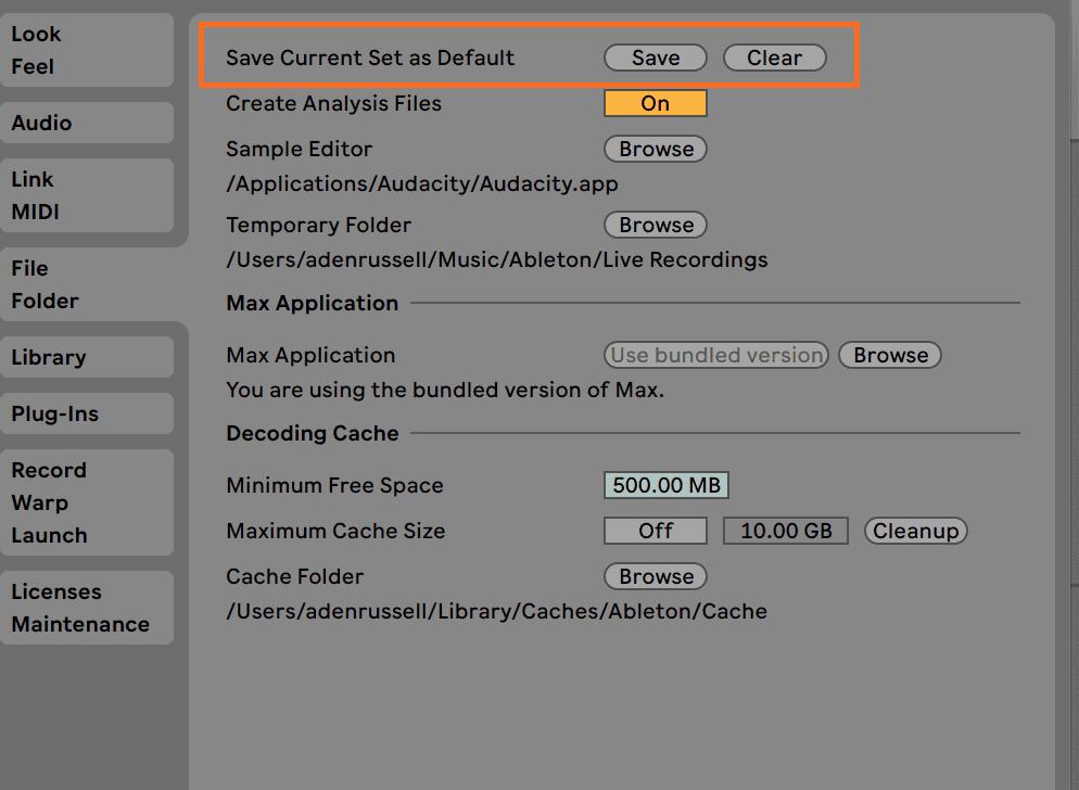 Ableton Live Template Preferences