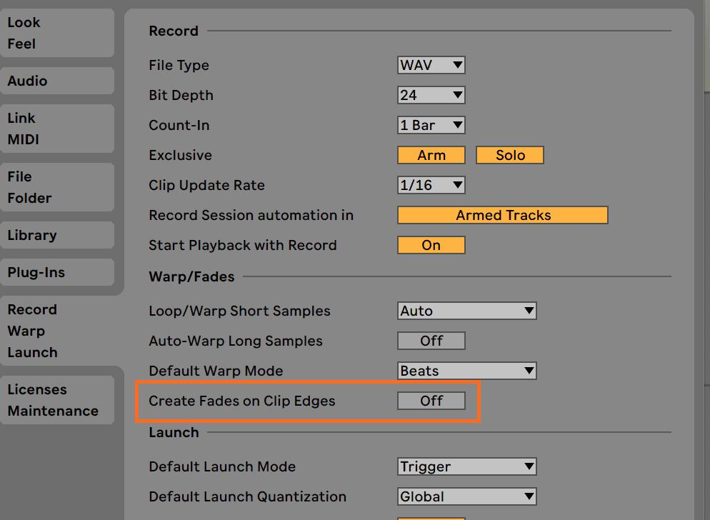 Ableton Live Auto Fades Preferences