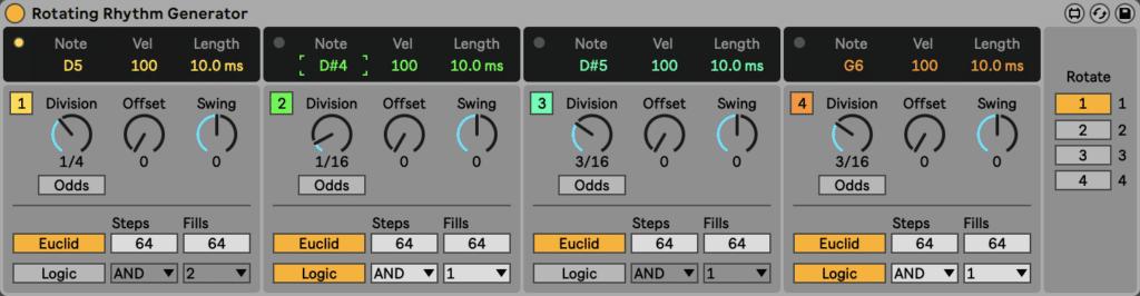 Rotating Rhythm Generator in Ableton Live