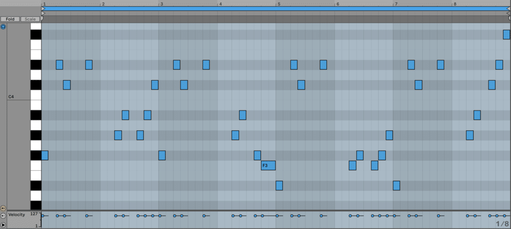 A motif-based melody in MIDI