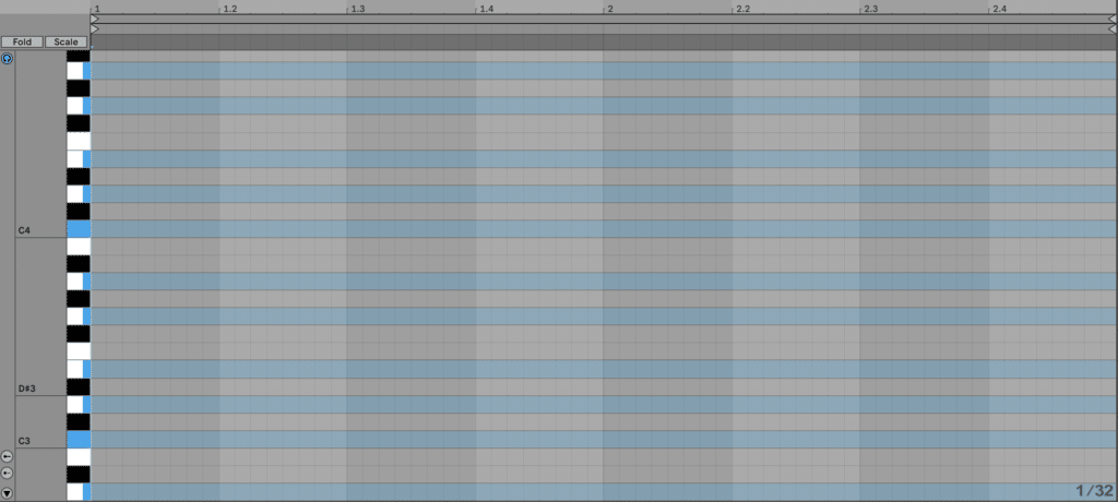 Scale highlighting on the piano roll in Ableton Live