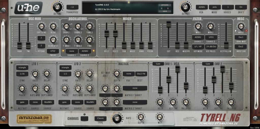 u-he Tyrell N6 plugin interface