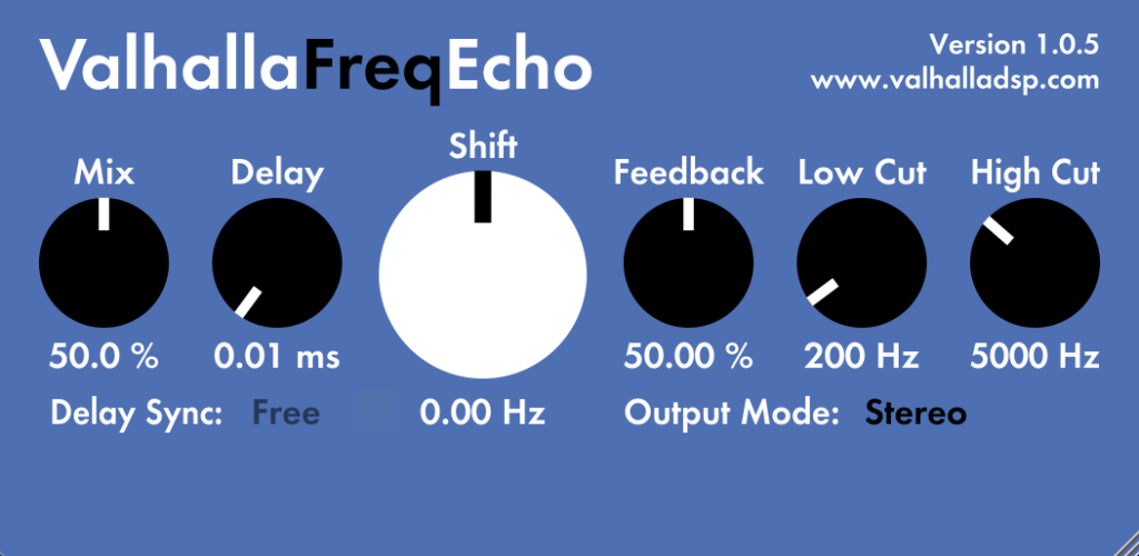 Valhalla Freq Echo plugin interface
