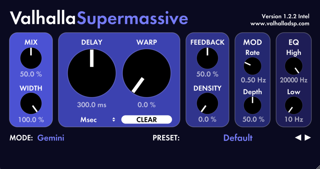 Valhalla Supermassive plugin interface