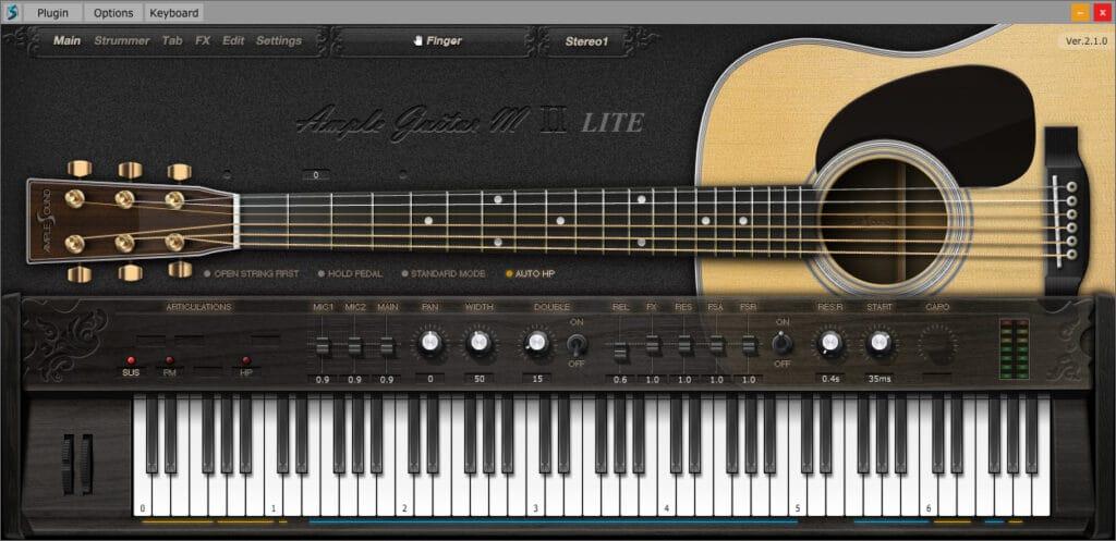 Ample Sound M Lite 2X plugin interface