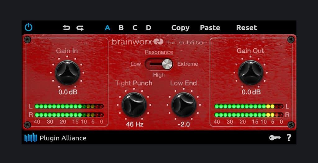 Brainworx bx_subfilter plugin interface