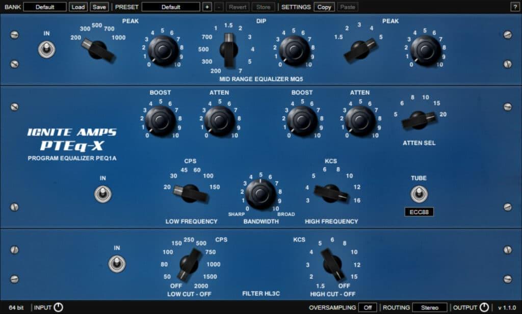 Ignite Amps P-Teq X plugin interface