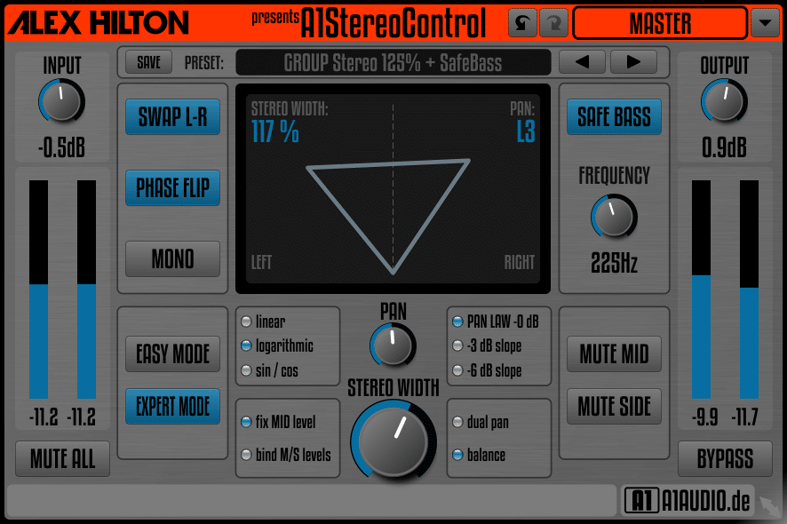 Alex Hilton A1StereoControl plugin interface