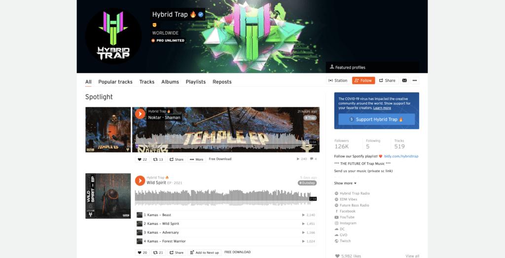 Hybrid Trap Soundcloud page