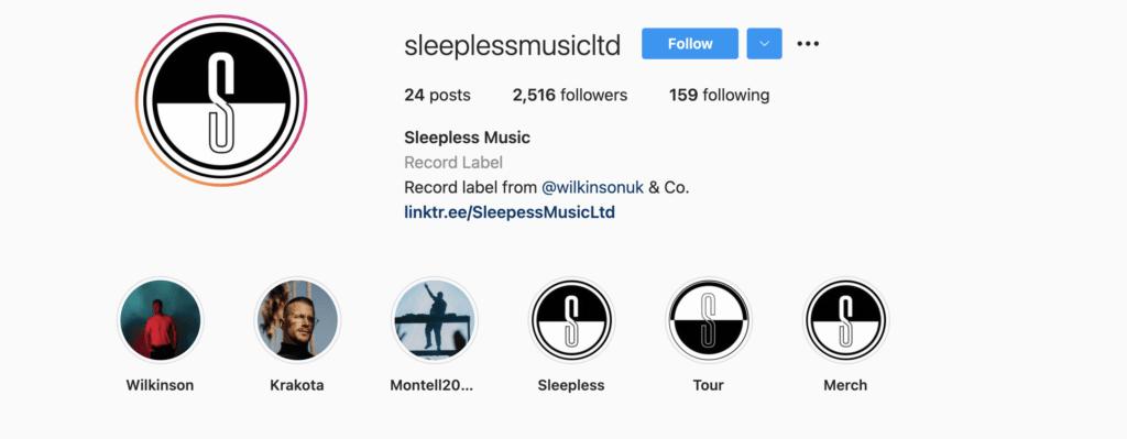 Sleepless Music Instagram profile