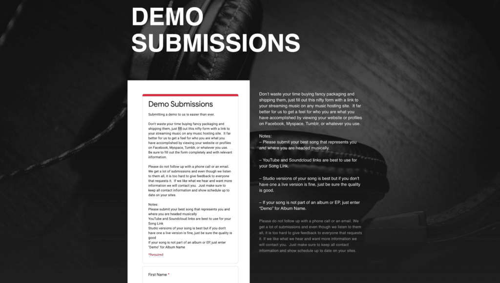 Red Bull Records demo submissions website