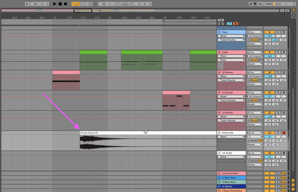 Chime noise hit sample