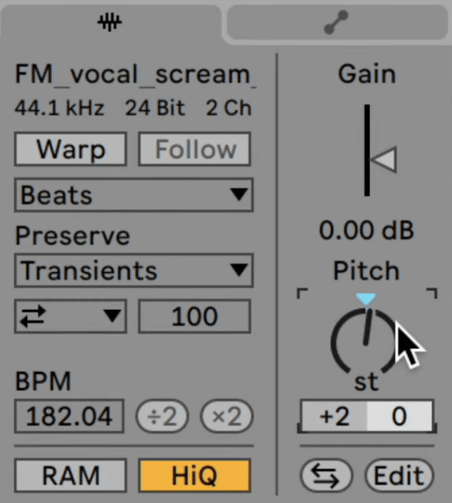 Transposing the background vocal