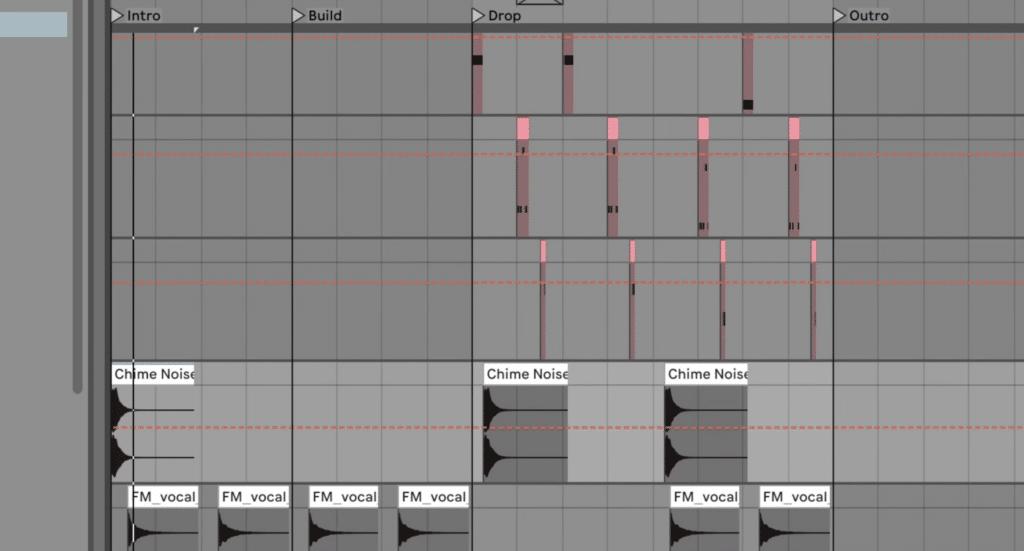 Chime noise hits - full arrangement